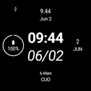 Sleek & Simple in ambient mode, with four complications and a black background.